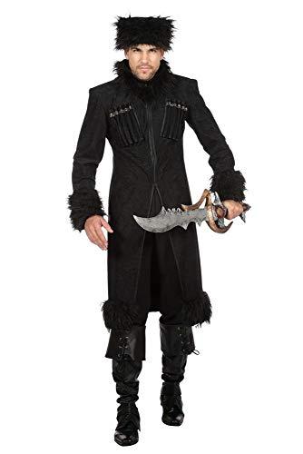 shoperama Herren Mantel und Mütze Dark Lord Zar Kosaken Kostüm Fell Kubanka Militär Armee Uniform Krieger Russland Ukraine, Größe:56