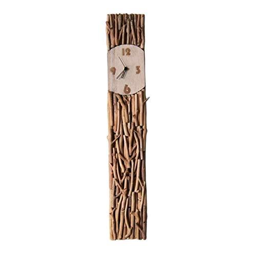 NBVCX Reloj de Pared de Vida hogareña rústico Europeo sin tictac lámpara de Pared Moderna Noche Decorativa Dormitorio Sala de Estar decoración rectángulo Reloj de Madera Maciza