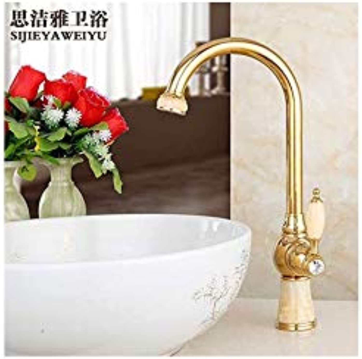 Water Tapfaucet Taps Natural Jade Copper Table Top Basin Hot and Cold Faucet Kitchen Sink Can Be redated gold Antique Faucet, Topaz gold (redary)