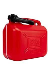 Motorkit MOTOR16512 Bidón/Garrafa Plástico Gasolina/Diesel 10L homologado, con Franja de medición de fácil Lectura, Incluye Embudo
