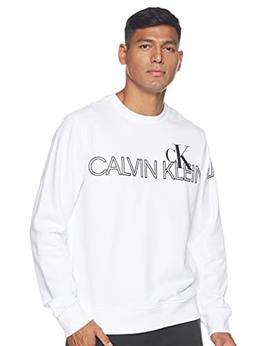 Calvin Klein Outline Logo Crew Neck Maglione, Bright White, XS Uomo