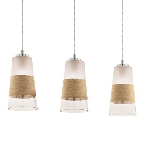 EGLO Lámpara colgante Burnham de 3 focos, vintage, retro, lámpara de techo de acero, cristal y rafia en níquel mate, color blanco, natural, lámpara de comedor, lámpara colgante con casquillo E27