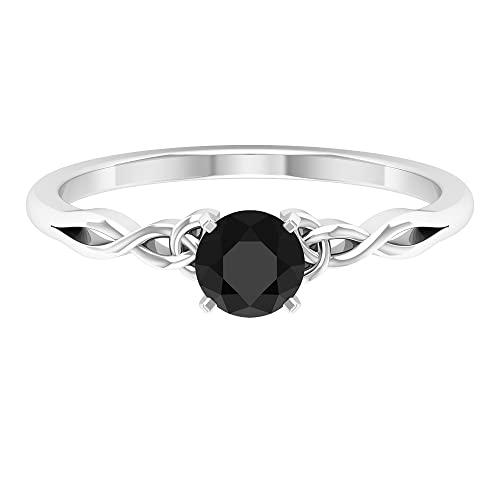 Anillo solitario de diamante negro de talla redonda de 5 mm con piedra natal de abril en engaste de punta cuadrada con detalles celtas (calidad HI-SI),14K Oro blanco,Diamante negro,Talla:EU 52.00