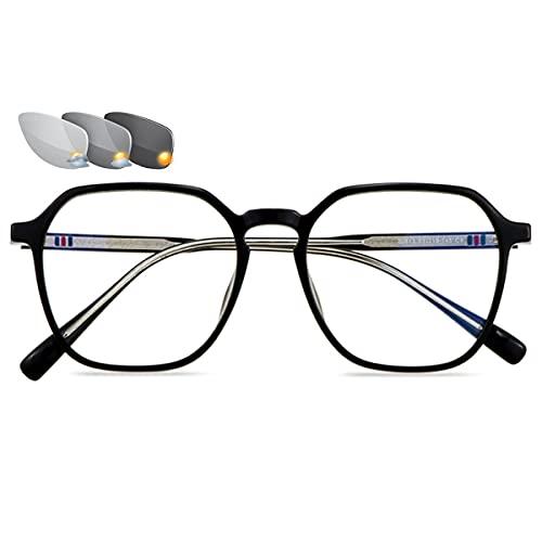 LGQ Gafas de Lectura Unisex con Montura de Moda, Gafas de Sol fotocromáticas para Exteriores, Gafas de presbicia ópticas multifocales progresivas,Negro,+1.00