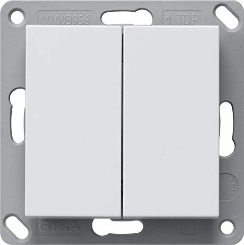 Gira 242227 Funk Wandsender Batterielos, 2fach System 55 Reinweiß matt
