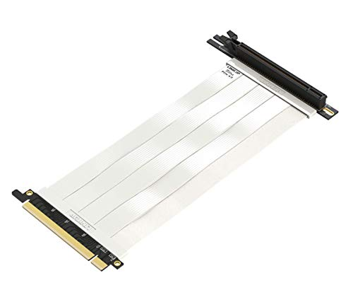 LINKUP - Ultra PCIe 4.0 X16 Riser-Kabel [RTX3090 RX6900XT x570 B550 Z590 Getestet] Geschirmte Vertikale Gaming-PCI-Express-Gen4-Montage┃Universal 90-Grad-Buchse {30cm} 3.0 Gen3-Kompatibel┃Weiß