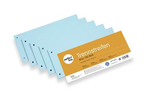 perfect line 100 strisce di separazione di carta blu, separatore registro, carte in 180 g, fogli di separazione blu, linguette per una separazione perfetta delle cartelle DIN-A4 & atti