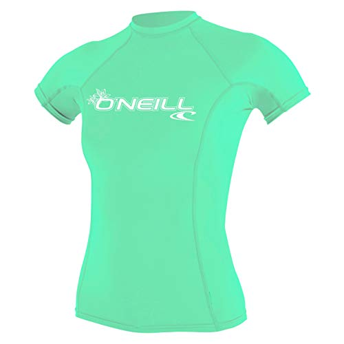 O'Neill Wetsuits Damen T-Shirt WMS Basic Skins S/Rash Guard, Light Aqua, XL, 3548-216-XL