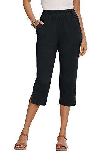 Roamans Women's Plus Size Soft Knit Capri Pant Pull On Elastic Waist - 1X, Black