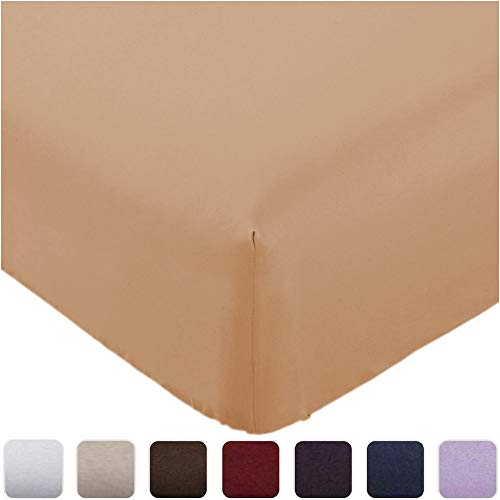 Mellanni Fitted Sheet Twin Tan - Brushed Microfiber 1800 Bedding - Wrinkle, Fade, Stain Resistant - Deep Pocket - 1 Single Fitted Sheet Only (Twin, Tan)