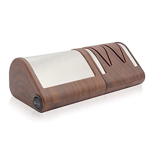 FISHTEC® Aiguiseur de Couteaux de Cuisine Electrique - Affûtage + Polissage à 2 Niveaux - Couteau Métal ou Céramique - Disques Abrasifs Diamantés - 21CM - Motif Bois