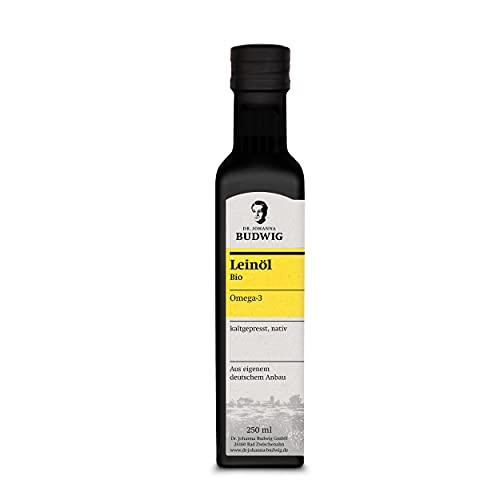 Dr. Budwig Omega-3 Leinöl - Das Original - JETZT NEU ZU 100% AUS EIGENEM DEUTSCHEN ANBAU - kaltgepresst und ungefiltert, mit einem frischen Aroma, 250 ml