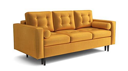 Sofa Venice Sofa mit Schlaffunktion im Samt Velours Farbauswahl (gelb Fresh 37)
