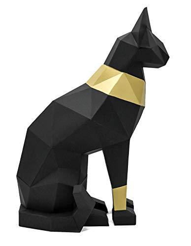 Oh Glam Home Kit DIY Gato Egipcio Papercraft 3D Escultura Origami 3D Puzzle 3D PRECORTADO (Negro, Dorado)