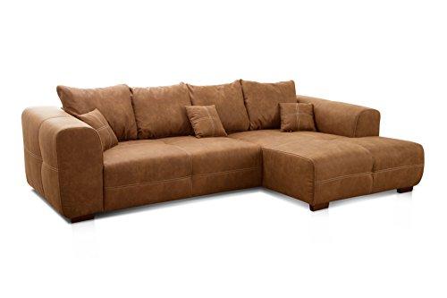 Cavadore Ecksofa Mavericco / XXL Eckcouch Inkl. Rückenkissen und Zierkissen / Longchair rechts / Industrial Style / 285 x 69 x 170 (BxHxT) / Mikrofaser Cognac