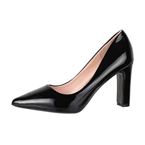 Elara Damen Pumps High Heels Absatz Vintage Chunkyrayan B0-115 Black-36