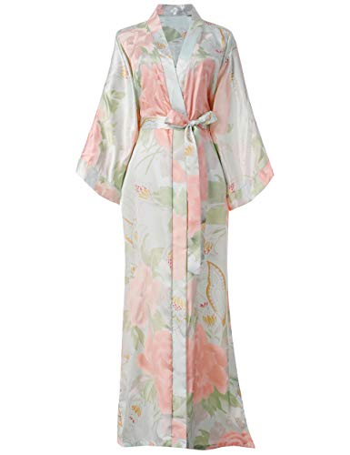 Coucoland Damen Morgenmantel Päonie Blumen Muster Maxi Lang Satin Sommer Kimono Kleid Klassisch Kimono Bademantel Damen Lange Robe Blumen Schlafmantel Girl Pajama Party (Neo Minze)