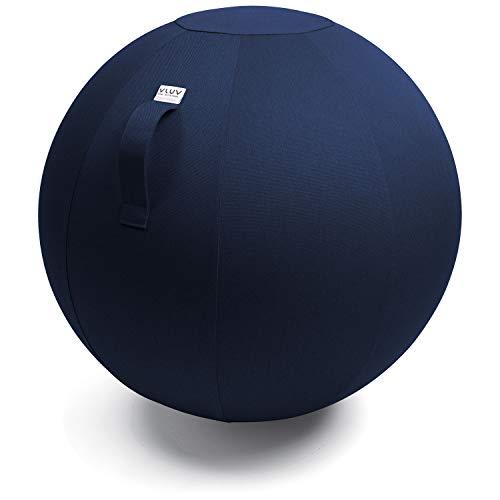 VLUV LEIV Stoff-Sitzball, ergonomisches Sitzmöbel für Büro und Zuhause, Farbe: Royal Blue (blau), Ø 60cm - 65cm, Möbelbezugsstoff, robust und formstabil, mit Tragegriff