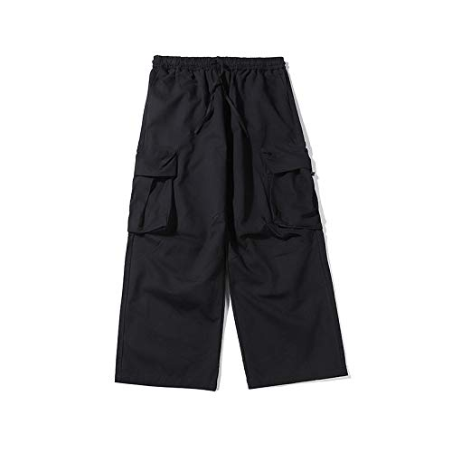 Pantalones de Carga Retro para Hombre, Multibolsillos, Color sólido, Ajuste Relajado, cordón, Cintura elástica, Hip-Hop, Personalidad, Pantalones Casuales X-Large