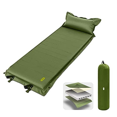 Zenph Colchon Acampada, Esterilla Acampada Camping Auto-inflables, Portatíl Esterilla Inflable con Almohada | Espesor 5CM, Espuma Cómodo y Ultraligero (Verde)