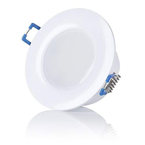 sweet-led, IP44, LED Bad Einbaustrahler, 230V ultra flach 6,5W warmweiß - kaltweiß, rund Weiß,Bad Einbauspots Einbauleuchten Badleuchten (1er -Warmweiß)