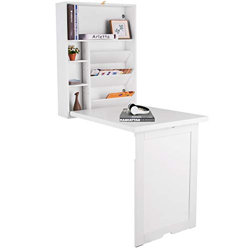 GOPLUS Wandtisch klappbar, Wandklapptisch aus Holz, Computertisch Farbewahl, Schreibtisch, Bartisch, Esstisch, Küchentisch, Klappschreibtisch (Weiß)