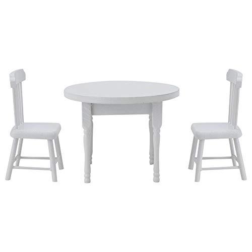 JULYKAI Silla en Miniatura, Juego de Muebles de Cocina, Silla de casa de muñecas en Miniatura, sillas Modelo de casa de muñecas, Mesa de Comedor Blanca para el hogar(Three-Piece Table and Chair Set)