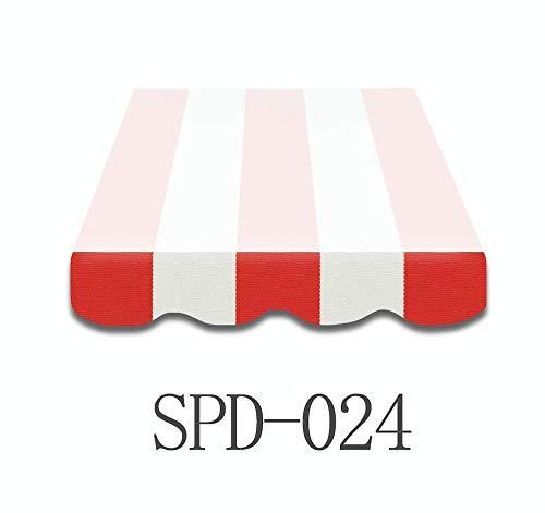 Home & Trends Markisen Volant Markisenbespannung Ersatzstoffe SPD024 Rot Weiß Maße 4 x 0.23 m Markisenstoffen fertig genäht mit Bordeux