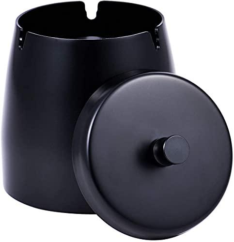 Cenicero con tapa para cigarrillos, resistente al viento, de acero inoxidable, para el hogar al aire libre (negro)