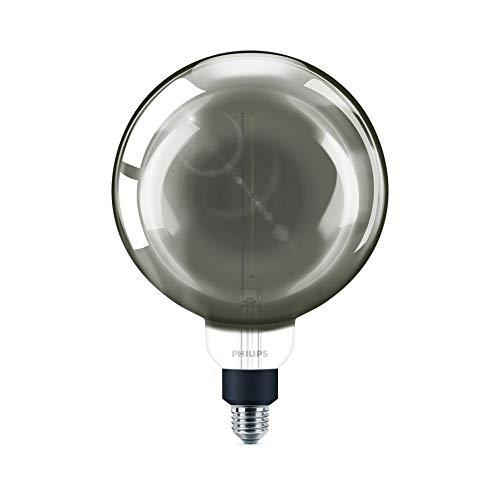 Philips 8718696815069 bombilla LED globo ahumada, de filamento efecto vintage, casquillo gordo E27, 6.5 W, luz fría regulable, Blanco frío