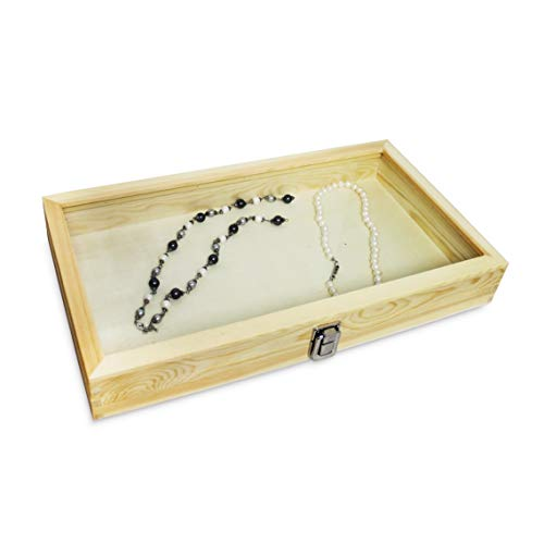 MOOCA Wood Glass Top Jewelry Display Case Accessories Storage, Wooden Jewelry Tray for Collectibles, Home Organization Box with Metal Clasp and Tempered Glass Top Lid, Natural Wood Color