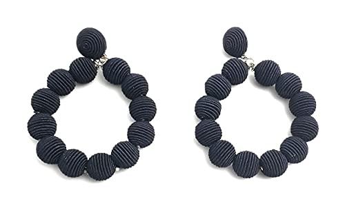 Pendientes de aro artesanales en tejido de rafia (Dark Blue)
