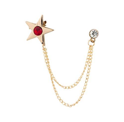 Knighthood Broche dorée avec étoile rouge avec chaîne de suspension pour manteau, costume, cadeau de mariage, chemise, accessoire pour homme
