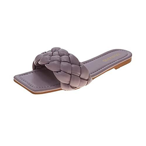 Mocassini e mokassins Pantofole Solid Color Open Toe Sandali piatti per le donne mocassini e mokassins