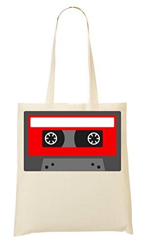 C+P Minimalistic Red Cassette Tape Graphic draagtas boodschappentas