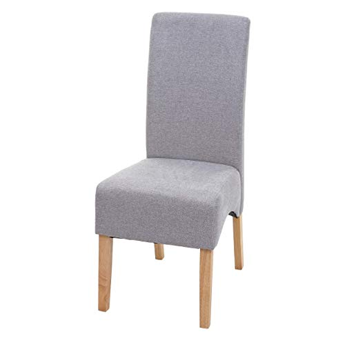 Mendler Esszimmerstuhl Latina, Küchenstuhl Stuhl, Stoff/Textil ~ hellgrau, helle Beine