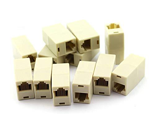 PZRT 12PCS RJ45 Coupler CAT5 CAT5E Extender Plug Ethernet LAN Cable Joiner Connector