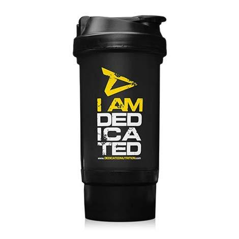 Shaker - Dedicated Nutrition Eiwitshaker 500ml BPA en DEHP vrij - met draaisluiting poedervak Ideaal voor uw eiwitshake - vaatwasmachinebestendig - uitneembare zeef + gratis polsband