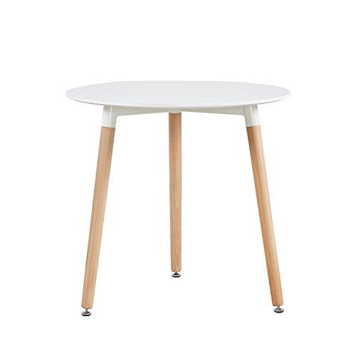 EGGREE Tavolo da Moderno Scandinavo Cucina Pranzo Rotondo con Gambe in Legno di Faggio, Bianco 80 x 70 cm