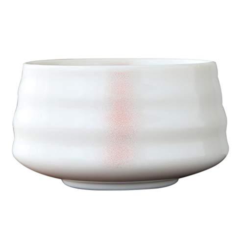 Hemoton Cuenco Matcha de Cerámica Japonesa Cuenco de Ceremonia de Té de Estilo Tradicional Japonés Accesorios de Cuenco de Matcha Chawan (Blanco)