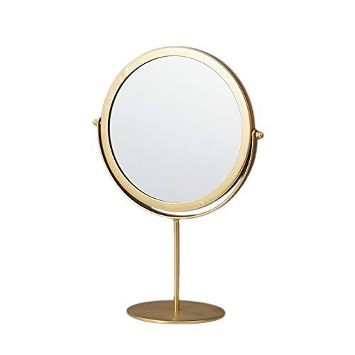 Gaetooely Stehender Tragbarer Metall Schmink Spiegel Runde Form Desktop Kosmetik Spiegel (Gold)