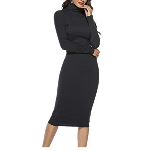 N\P Punto Cuello Alto Midi Vestido Otoño Invierno Mujeres Casual Manga Larga Más Tamaño Vestidos Slim Elástico Mujer