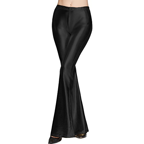 5a5ebfc9b486 IWEMEK Womens Ladies Wet Look Faux Leather PU Sparkly Shiny Metallic Full  Length Solid Color Long