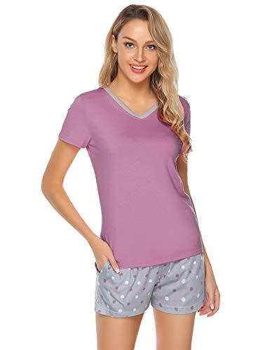 Hawiton Damen Pyjama Schlafanzug Kurz Sommer Zweiteilige Nachtwäsche Hausanzug Sleepwear Kurzarm V Ausschnitt Rosa Rot S