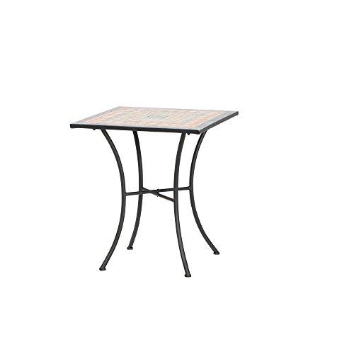 Siena Garden 380819 Tisch Prato, 64x64x71cm, Gestell: Stahl, pulverbeschichtet in schwarz matt, Fläche: Mosaik,Tischplatte: Keramik, Mehrfarbig