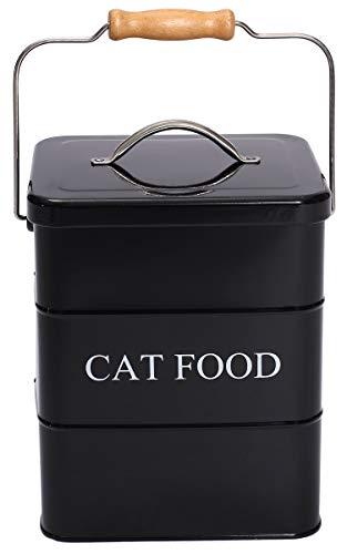 Geyecete - Contenitore per alimenti per gatti e gatti, con coperchio e cucchiaio, colore: Nero