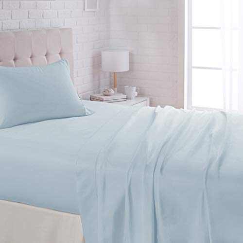 "AmazonBasics Lightweight Super Soft Easy Care Microfiber Bed Sheet Set with 16"" Deep Pockets - Twin, Light Blue"