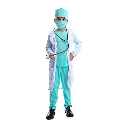 LUOEM Doctor Bata de Laboratorio Niños Traje de Niño Conjunto de Disfraces Accesorios de Disfraces Talla M