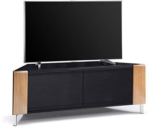 MDA Designs Corvus Eckschrank für Flachbildfernseher bis 127 cm (50 Zoll), Schwarz Oak Side Profiles