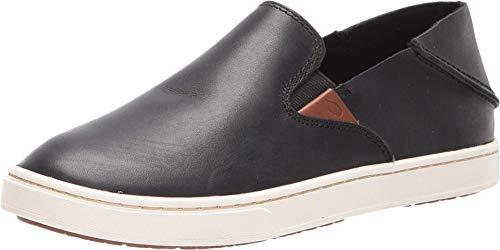 OLUKAI Women's Pehuea Leather Shoe, Black/Black, 11 M US